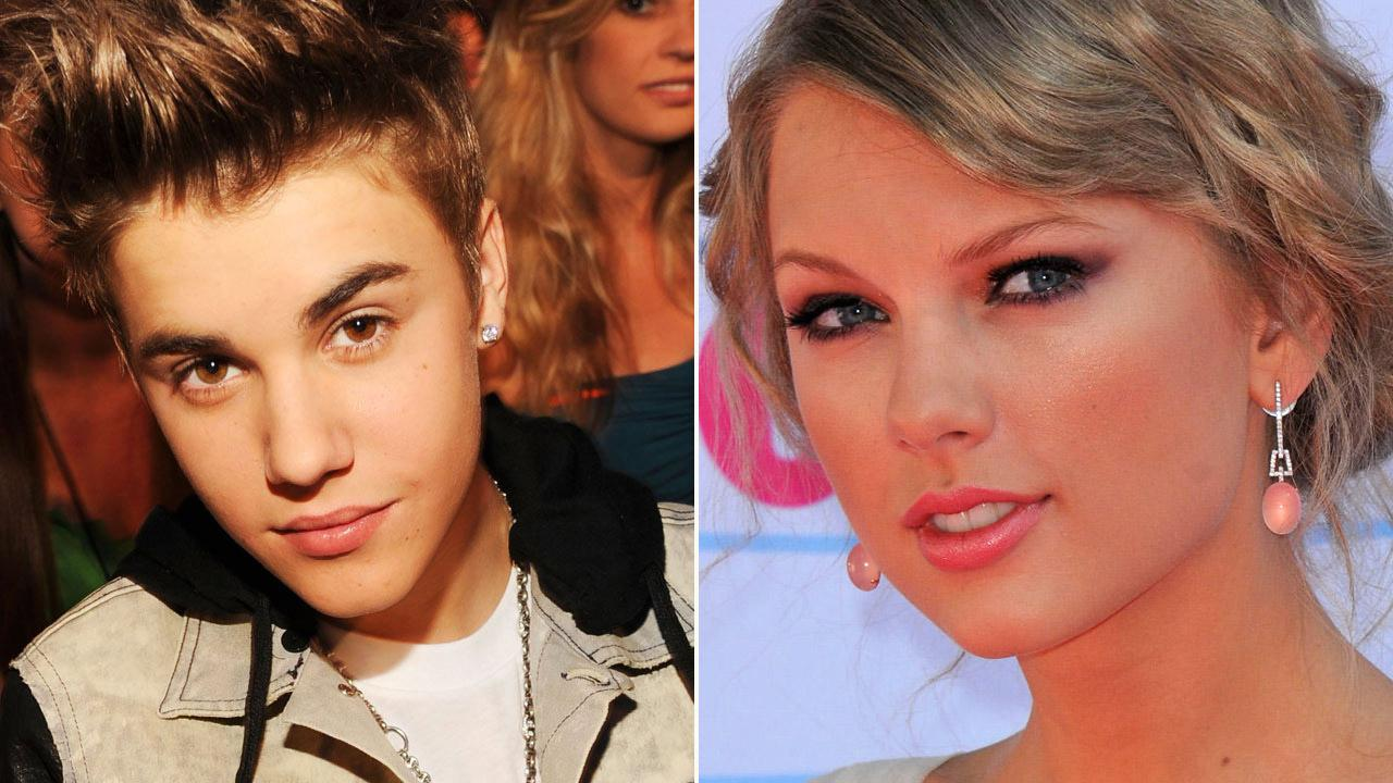 Justin Bieber appears in a photo from teh Billbaord Music Awards on May 20, 2012. / Taylor Swift arrives at the 2012 Teen Choice Awards on July 22, 2012 in Universal City, Calif.