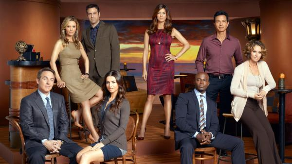 Brian Benben, KaDee Strickland, Paul Adelstein, Caterina Scorsone, Kate Walsh, Taye Diggs, Benjamin Bratt and Amy Brenneman appear in a promotional photo for Private Practice. - Provided courtesy of ABC / Andrew MacPherson