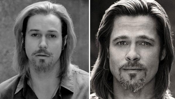 Taran Killam appears as Brad Pitt on the October 20, 2012 episode of Saturday Night Live. / Brad Pitt appears in a behind-the-scenes photo for Chanel No. 5s 2012 ad campaign. - Provided courtesy of Sam Taylor-Wood / Chanel / NBC