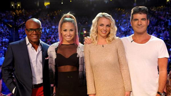 L.A. Reid, Demi Lovato, Britney Spears and Simon Cowell on the set of THE X FACTOR airing on FOX. - Provided courtesy of Ray Mickshaw / FOX