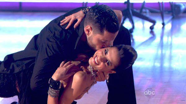 Kelly Monaco and Valentin Chmerkovskiy appear in a still from Dancing With The Stars: All-Stars on October 22, 2012. - Provided courtesy of ABC
