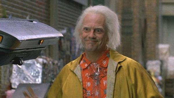 Christopher Lloyd appears in a scene from the 1989 movie 'Back To The Future Part II.'