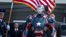 Iron Patriot appears in a scene from the 2013 Marvel film Iron Man 3. - Provided courtesy of Zade Rosenthal / Marvel / Walt Disney Pictures