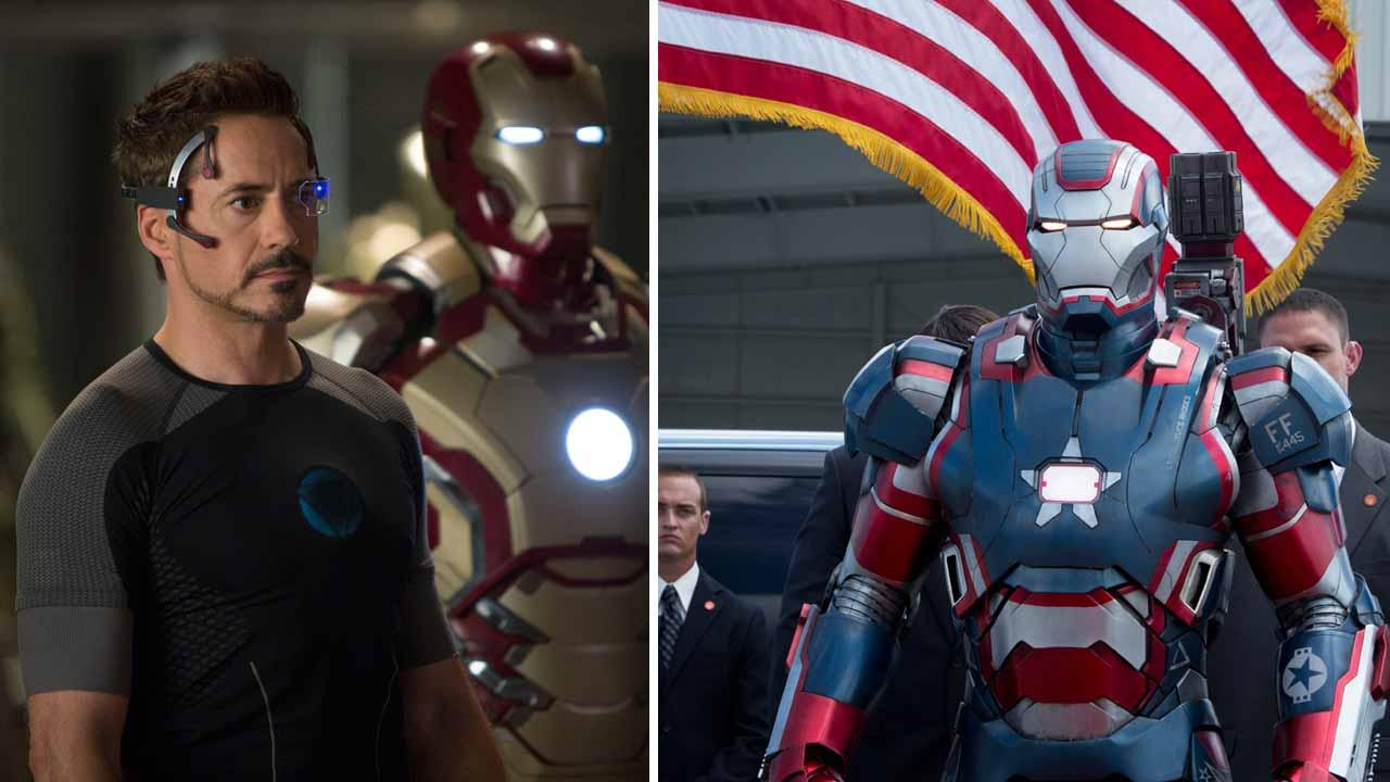 Robert Downey Jr. appears in a scene from the 2013 Marvel film Iron Man 3. / Iron Patriot appears in a scene from Iron Man 3.