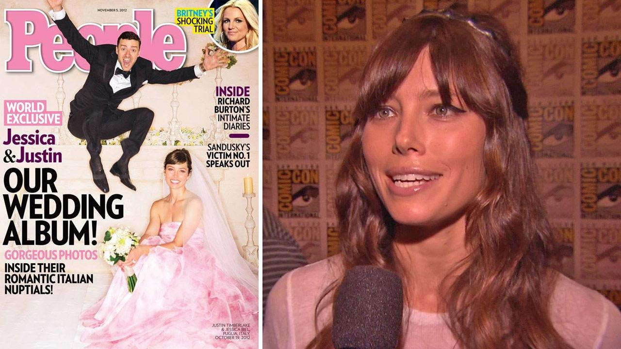 Jessica Biel and Justin Timberlake are pictured in their wedding gown and tuxedo on the cover of People magazines Oct. 19, 2012 issue. The two wed in Italy that day. / Jessica Biel talks to OTRC.com at San Diego Comic-Con on July 13, 2012.