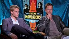 Gerard Butler and Jonny Weston appear in an interview for Chasing Mavericks with OTRC.com on October 19, 2012. - Provided courtesy of OTRC