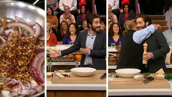 Jake Gyllenhaal appears with Mario Batali on the ABC show The View on Oct. 25, 2012. - Provided courtesy of ABC