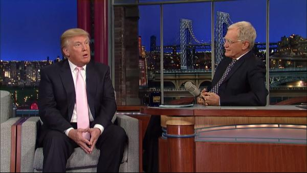 Donald Trump and David Letterman appear in a still from The Late Show on October 24, 2012. - Provided courtesy of CBS