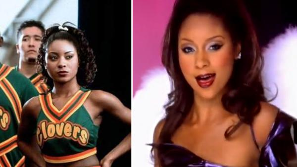 Natina Reed appears in a still from the 2000 film, 'Bring It On.' / Natina Reed appears in a still from the Blaque music video, 'Bring It All To Me.'