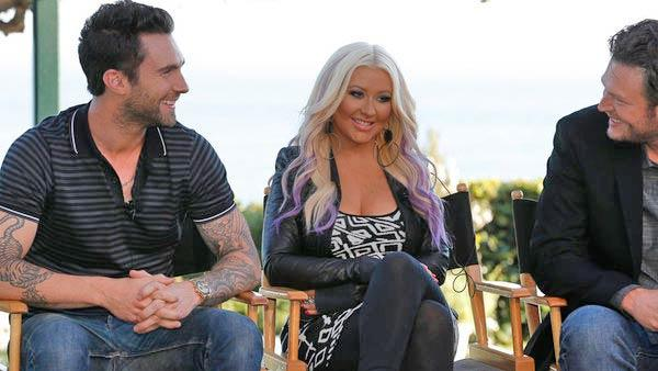 Adam Levine, Christina Aguilera, Blake Shelton in Malibu, Calif. on August 12, 2012. - Provided courtesy of Chris Haston/NBC