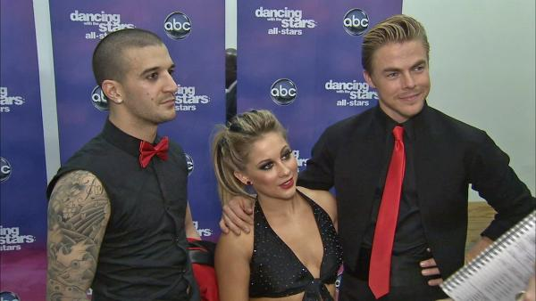 Mark Ballas, Shawn Johnson and Derek Hough talk to OTRC.com after the November 5, 2012 episode of Dancing With The Stars. - Provided courtesy of OTRC