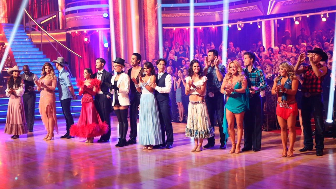 The cast appears in a still from week 6 of Dancing With The Stars: All-Stars, which aired on October 29, 2012.