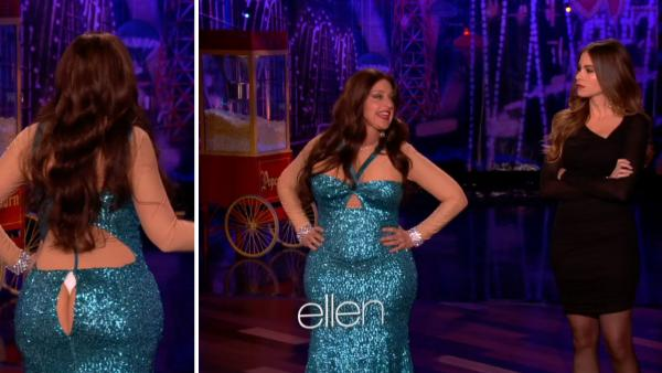Ellen DeGeneres, dressed as Sofia Vergara, and Vergara herself appear on The Ellen DeGeneres Show on Oct. 31, 2012. - Provided courtesy of Warner Bros. Television