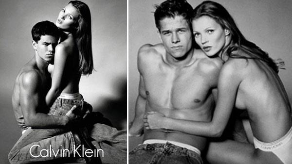 Kate Moss and Mark Wahlberg appear in 1992 Calvin Klein ads. - Provided courtesy of Photo courtesy of Calvin Klein