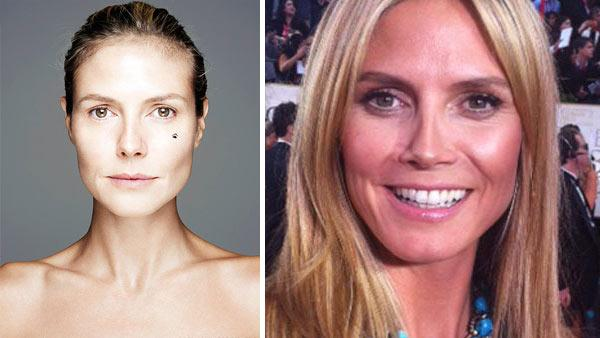 In late October 2012, Heidi Klum ditched the heavy makeup to star in the BBC Networks Children In Need BearFaced campaign. / Heidi Klum appears at the 2012 Golden Globes, as seen in a photo posted on her official Twitter account on Jan. 15, 2012. - Provided courtesy of BBC / Children In Need / twitter.com/heidiklum