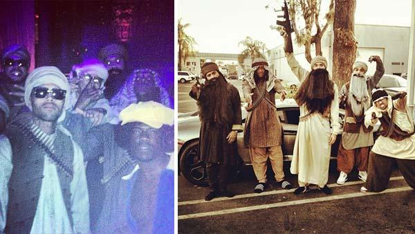 Chris Brown dressed up as an Islamic terrorist for Halloween 2012, as seen in these photos posted on his Instagram page. Also pictured second from th