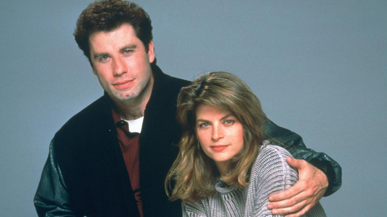 Kirstie Alley and John Travolta appear in a promotional photo for Look Whos Talking.