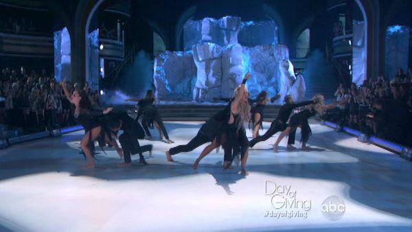 Mark Ballas, Chelsie Hightower and the 'future stars of ballroom' appear in a still from their performance on 'Dancing with the Stars: All Stars' on November 5, 2012.
