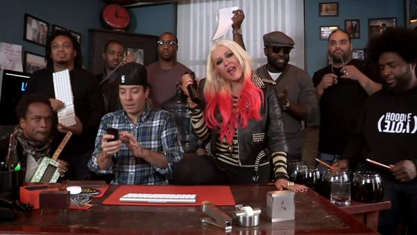 Christina Aguilera appears on Late Night with Jimmy Fallon in November 2012. - Provided courtesy of NBC