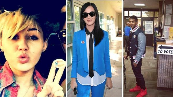 Miley Cyrus, Katy Perry and Usher appears in photos posted on their Twitter pages on Election Day on Nov. 6, 2012.