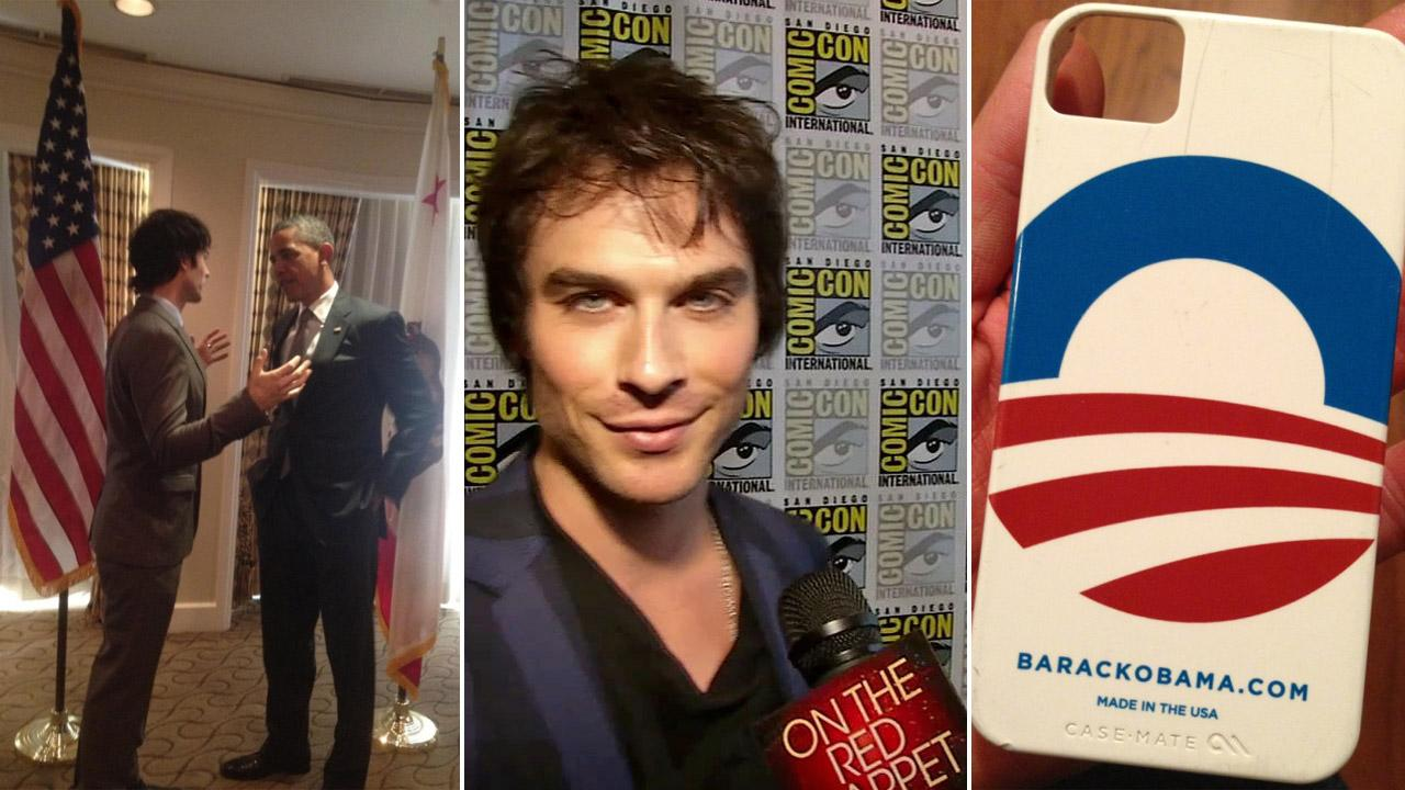 Ian Somerhalder is seen with President Barack Obama at the White House on June 7, 2012. He posted this picture on the actors Twitter page on Election Day - Nov. 6, 2012. / Somerhalder talks to OTRC.com at San Diego Comic-Con on July 14, 2012.twitter.com/iansomerhalder/status/266059216517730304 / OTRC / https://twitter.com/iansomerhalder/status/266034353035943936