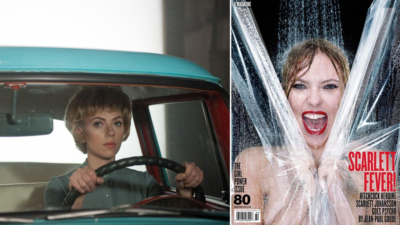 Scarlett Johansson appears in a still from the 2012 film, Hitchcock. / Scarlett Johansson appears on the Winter 2012 cover of V magazine.