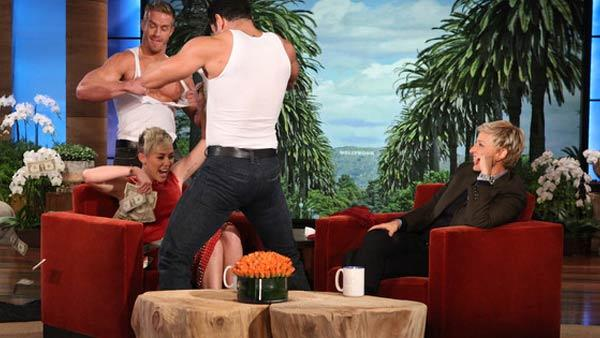 Miley Cyrus and Ellen DeGeneres appear in a still from a November 8 episode of Ellen. - Provided courtesy of Warner Bros. Television