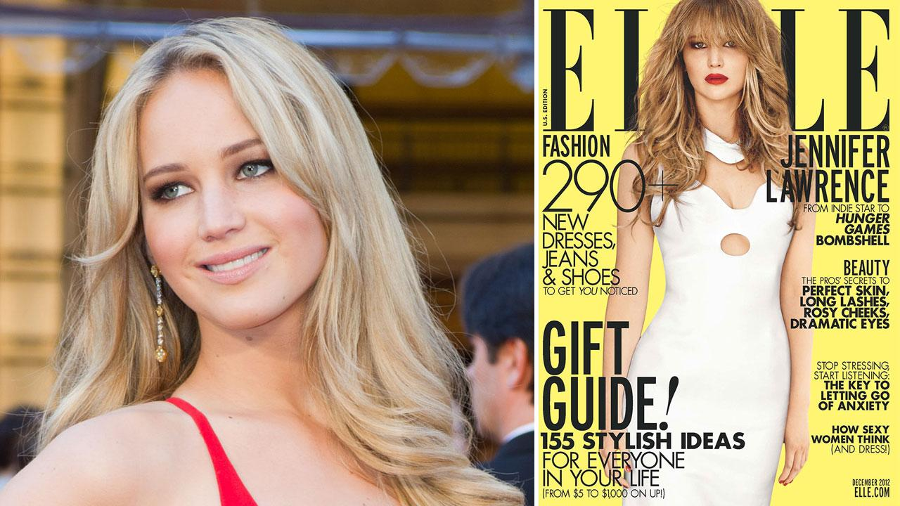 Jennifer Lawrence arrives for the 83rd Annual Academy Awards at the Kodak Theatre in Hollywood, CA on February 27, 2011. / Jennifer Lawrence appears on the December 2012 cover of Elle magazine.