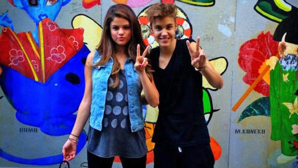 Selena Gomez and Justin Bieber appear in a photo posted on Gomez's official Facebook page on July 9, 2012.