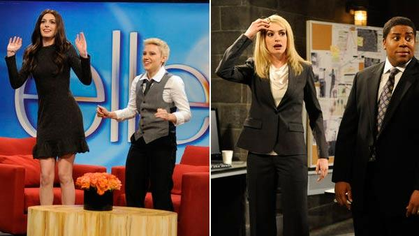 Anne Hathaway appears in promotional photos for Saturday Night Live on November 10, 2012. - Provided courtesy of NBC