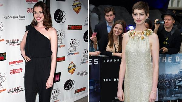 Anne Hathaway arrives at the 55th Annual Drama Desk Awards in New York, Sunday, May 23, 2010. / Anne Hathaway arrives for the European premiere of The Dark Knight Rises, at a central London cinema, Wednesday, July 18, 2012.