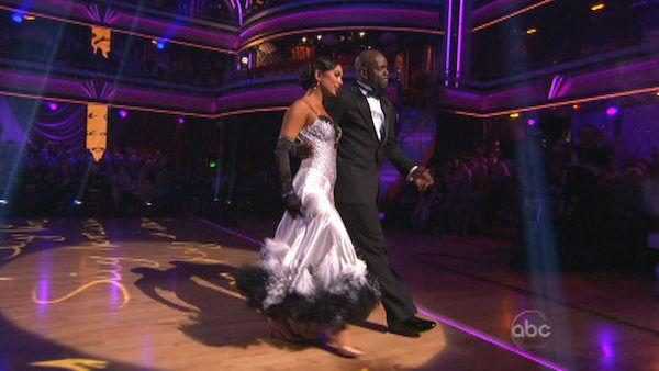 Retired NFL star Emmitt Smith and his partner Cheryl Burke received 28 out of 30 points from the judges for their Viennese Waltz on 'Dancing With The Stars: All-Stars,' which aired on November 12, 2012.