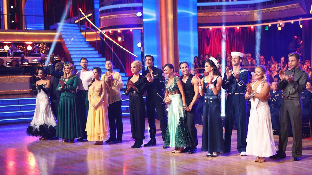 The cast appears in a still from week 8 of Dancing With The Stars: All-Stars, which aired on Nov. 12, 2012.