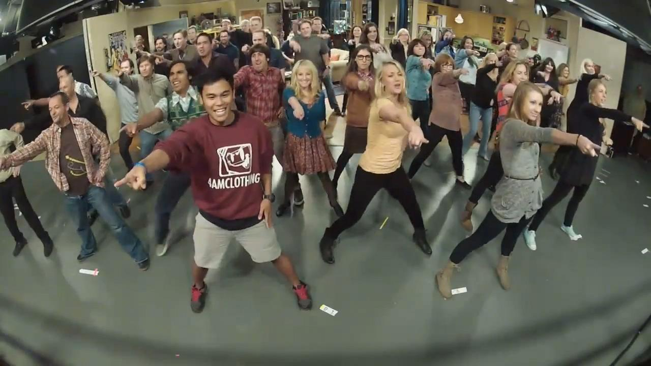 The Big Bang Theory cast and crew appear in a still from their flashmob, which took place on October 23, 2012.