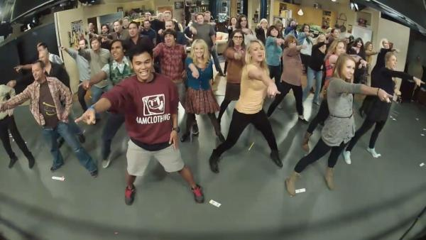 The Big Bang Theory cast and crew appear in a still from their flashmob, which took place on October 23, 2012. - Provided courtesy of youtube.com/watch?featureplayer_embedded&vdql26ssMcVI
