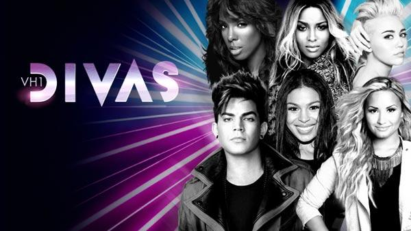 Clockwise from bottom left: Adam Lambert, Kelly Rowland, Ciara, Miley Cyrus, Demi Lovato and Jordin Sparks appear in an official publicity photo for VH1 Divas 2012. - Provided courtesy of VH1 / Viacom