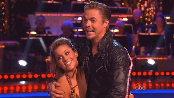 Shawn Johnson and Derek Hough appear in a still from Dancing With The Stars: All-Stars on November 19, 2012. - Provided courtesy of ABC / OTRC