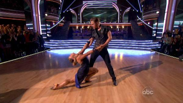 Shawn Johnson and Mark Ballas appear in a still from 'Dancing With The Stars: All-Stars' on November 19, 2012.