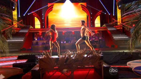 Kelly Monaco and Valentin Chmerkovskiy appear in a still from 'Dancing With The Stars: All-Stars' on November 19, 2012.