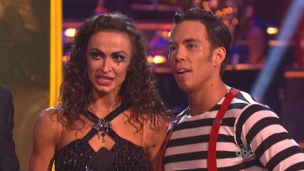 Apolo Anton Ohno and Karina Smirnoff appear in a still from 'Dancing With The Stars: All-Stars' on November 19, 2012.