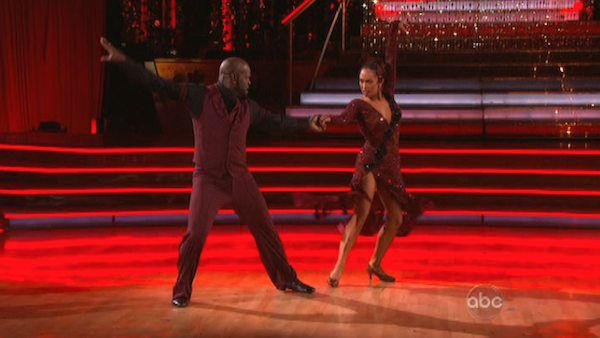 Emmitt Smith and Cheryl Burke appear in a still from 'Dancing With The Stars: All-Stars' on November 19, 2012.