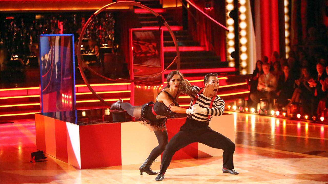 Olympic speed skater Apolo Anton Ohno and his partner Karina Smirnoff received 27 out of 30 points from the judges for their Big Top Jazz on Dancing With The Stars: All-Stars on Monday, Nov. 19, 2012. <span class=meta>(Adam Taylor)</span>