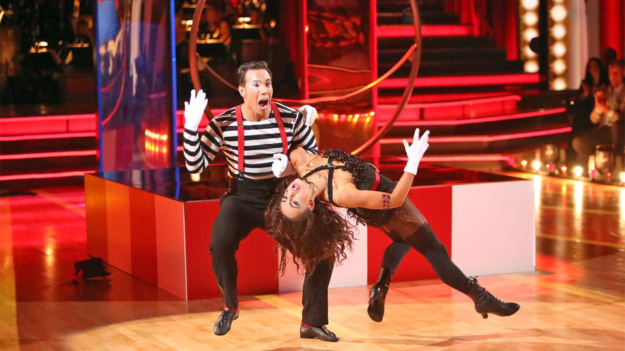 Olympic speed skater Apolo Anton Ohno and his partner Karina Smirnoff received 27 out of 30 points from the judges for their Big Top Jazz on Dancing With The Stars: All-Stars on Monday, Nov. 19, 2012.Adam Taylor