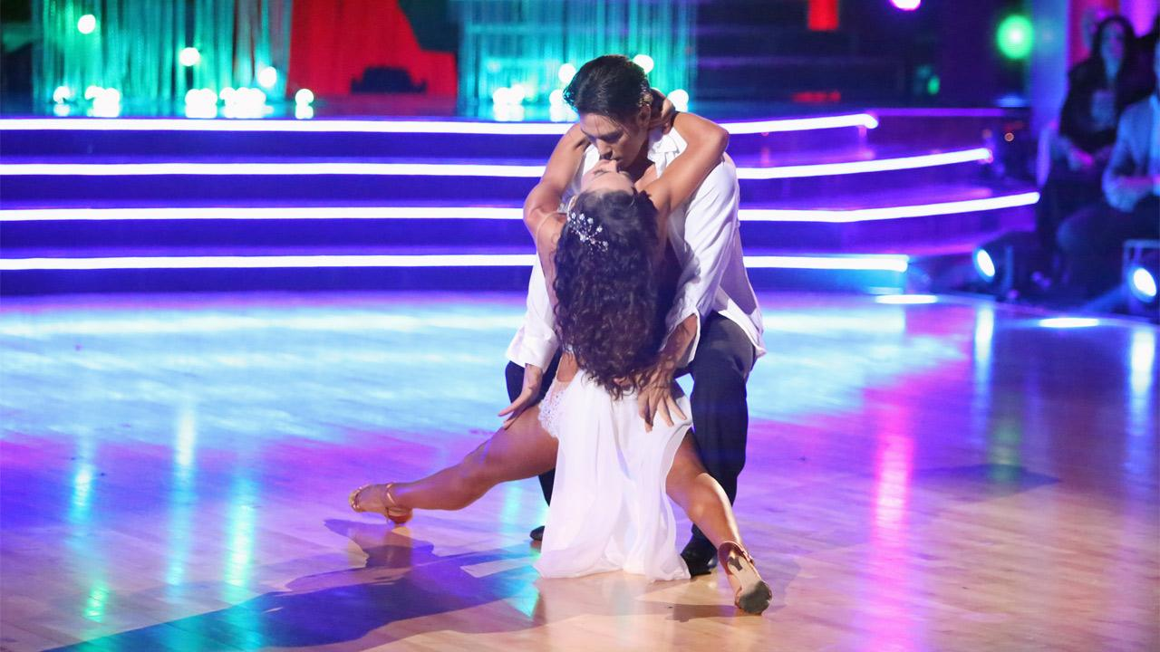 Olympic speed skater Apolo Anton Ohno and his partner Karina Smirnoff received 30 out of 30 points from the judges for their Rumba on Dancing With The Stars: All-Stars on Monday Nov. 19, 2012. <span class=meta>(Adam Taylor)</span>