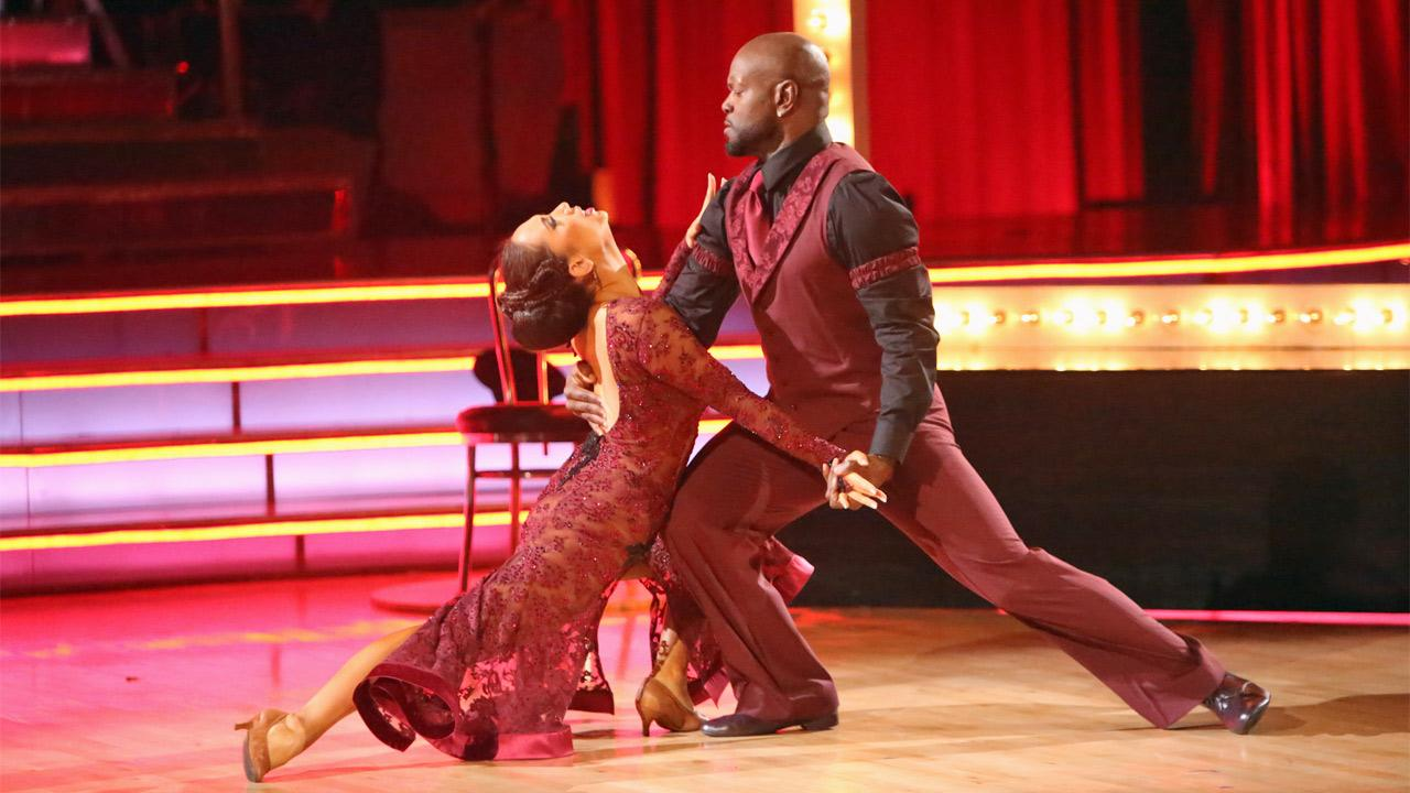 Retired NFL star Emmitt Smith and his partner Cheryl Burke received 27 out of 30 points from the judges for their Tango on Dancing With The Stars: All-Stars on Monday, Nov. 19, 2012. <span class=meta>(Adam Taylor)</span>