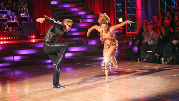 Olympic gymnast Shawn Johnson and her partner Derek Hough received 30 out of 30 points from the judges for their 'Knight Rider' Bhanga on 'Dancing With The Stars: All-Stars' on Monday, Nov. 19, 2012.