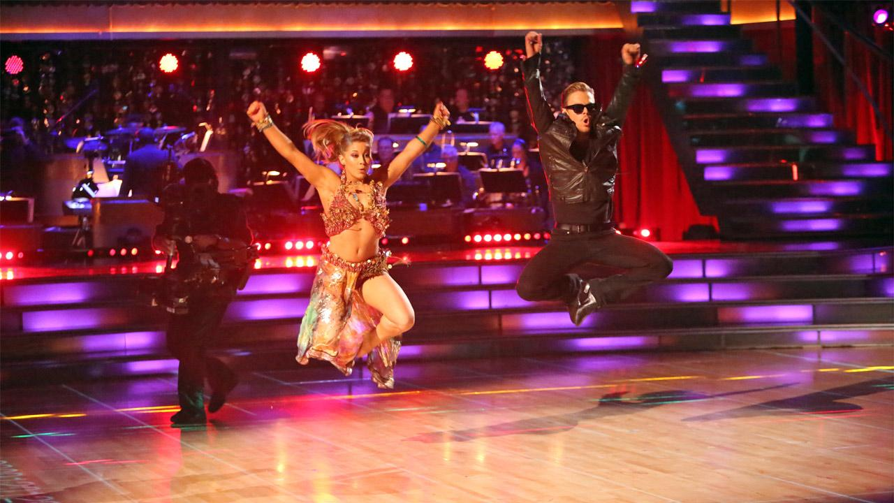 Olympic gymnast Shawn Johnson and her partner Derek Hough received 30 out of 30 points from the judges for their Knight Rider Bhanga on Dancing With The Stars: All-Stars on Monday, Nov. 19, 2012. <span class=meta>(Adam Taylor)</span>