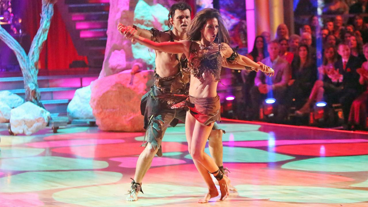 Reality star Melissa Rycroft and her partner Tony Dovolani received 27.5 out of 30 points from the judges for their Caveman Hustle on Dancing With The Stars: All-Stars on Monday, Nov. 19, 2012. <span class=meta>(Adam Taylor)</span>