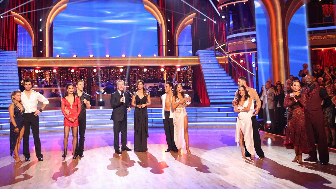 Shawn Johnson, Tony Dovolani, Melissa Rycroft, Derek Hough, Tom Bergeron, Brooke Burke Charvet, Apolo Anton Ohno, Karina Smirnoff, Valentin Chmerkovskiy, Kelly Monaco, Cheryl Burke and Emmitt Smith on Dancing With The Stars: All-Stars on Nov. 19, 2012. <span class=meta>(Adam Taylor)</span>