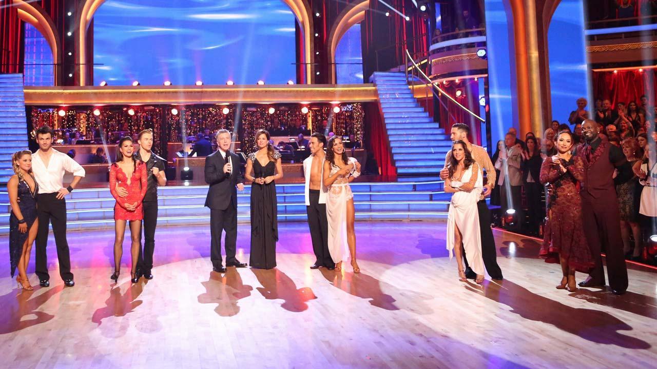 The cast appears in a still from week 9 of Dancing With The Stars: All-Stars, which aired on Nov. 20, 2012.